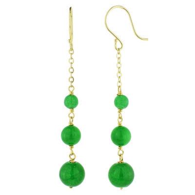 Genuine Green Jade 14K Gold Drop Earrings