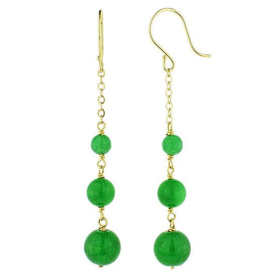 Genuine Green Jade 14K Gold Drop Earrings