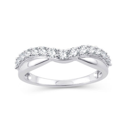 Womens 1/2 CT. T.W. Genuine White Diamond 10K White Gold Wedding Band