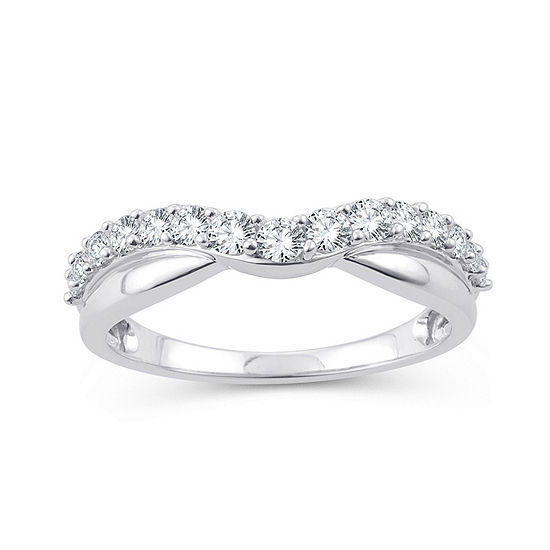Womens 1 2 Ct Tw Genuine White Diamond 10k White Gold Wedding Band