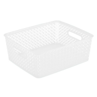 Resin Wicker Storage Tote -White- Medium 14 X11.5 X 5.15- Basket Weave