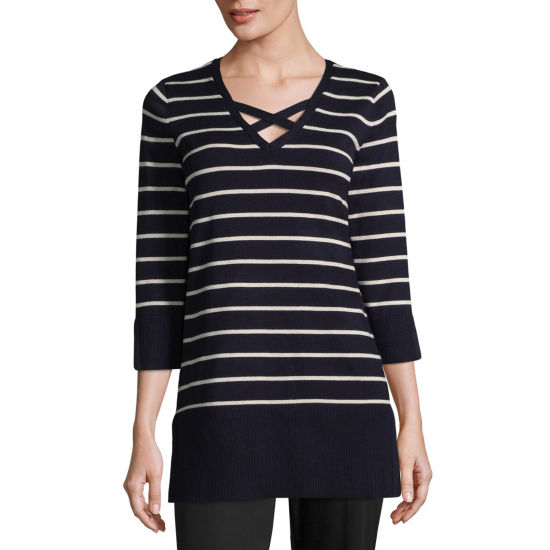 Isela 3/4 Sleeve V Neck Stripe Pullover Sweater