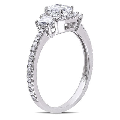 Womens 1 CT. T.W. Genuine White Diamond 14K White Gold Engagement Ring