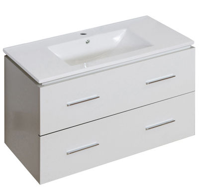 35.5-in. W Wall Mount White Vanity Set For 1 HoleDrilling