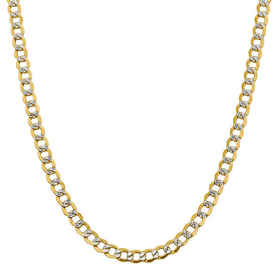 14K Gold 16 Inch Semisolid Curb Chain Necklace