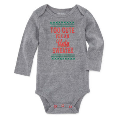 "Okie Dokie ""Too Cute for an Ugly Sweater"" Slogan Long Sleeve Bodysuit - Baby NB-24M"