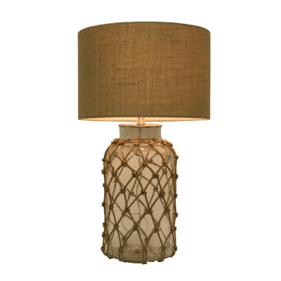 Decor Therapy Seeded Glass Table Lamp with Rope Net