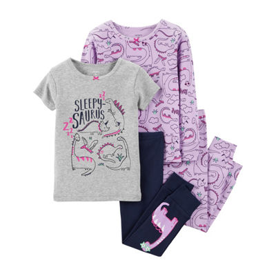 Carter's 4pc Sleepy Saurus Pajama Set- Toddler Girl
