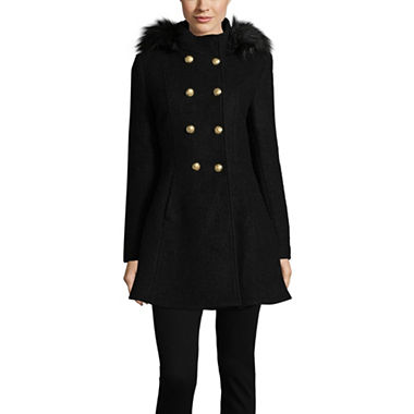 Liz Claiborne Boucle Hooded Midweight Swing Womens Coat