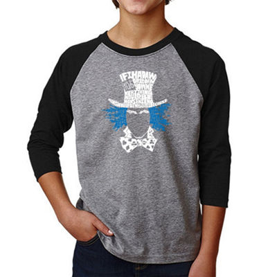 Los Angeles Pop Art Boy's Raglan Baseball Word Art T-shirt - The Mad Hatter