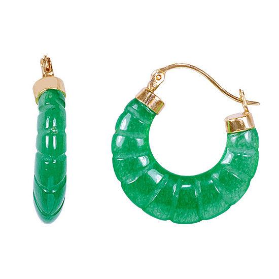 Genuine Green Jade 14K Gold 15mm Hoop Earrings
