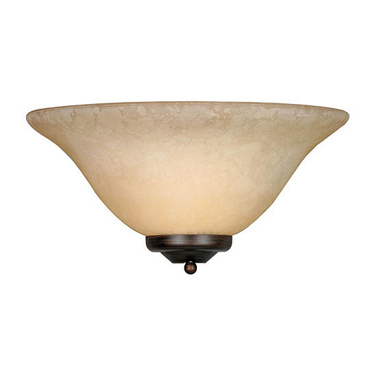 Multi-Family 1-Light Wall Sconce in Rubbed Bronzewith Tea Stone Glass