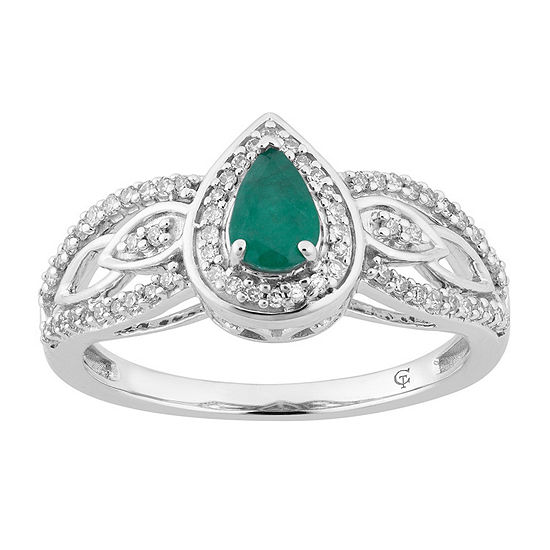 Womens 1 4 Ct Tw Genuine Green Emerald 10k White Gold Cocktail Ring
