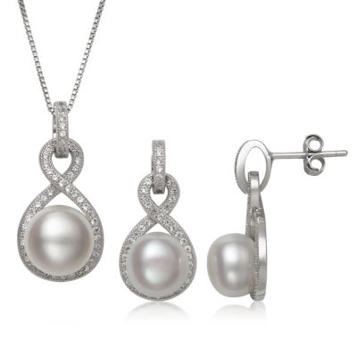 White Cultured Freshwater Pearl Silver Tone Sterling Silver 2-pc. Jewelry Set