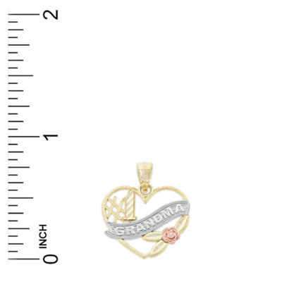 Womens 14K Tri-Color Gold Heart Pendant