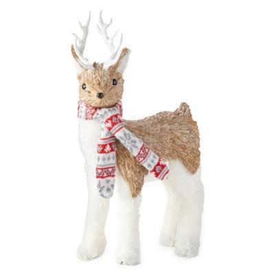 North Pole Trading Co. Sisal Deer With Scarf Animal Figurine