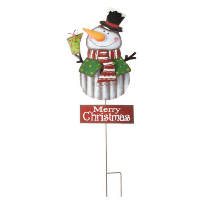 North Pole Trading Co. Merry Christmas Snowman Yard Stake