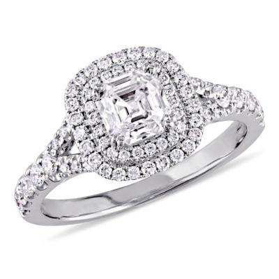 Womens 1 1/5 CT. T.W. Genuine White Diamond 14K White Gold Engagement Ring