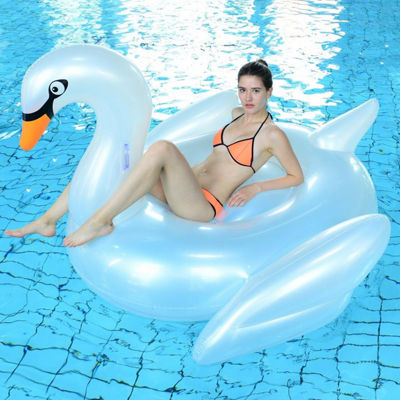 "72.25"" Pearlized White Inflatable Giant Swan Swimming Pool Ride-On Float Toy"