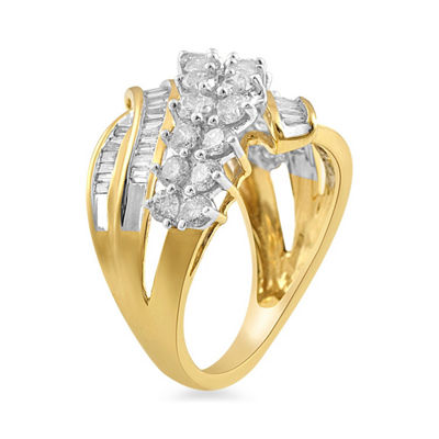 Womens 2 CT. T.W. White Diamond 10K Gold Cocktail Ring