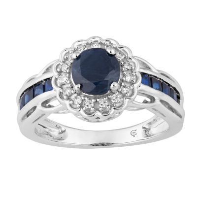 Womens 1/8 CT. T.W. Genuine Blue Sapphire 10K White Gold Cocktail Ring
