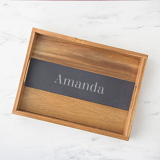 Cathy's Concepts Personalized Acacia And Slate Tray Serving Tray