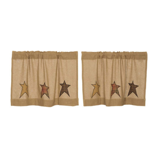 Primitive Window Stratton Burlap Applique Star Tier Pair