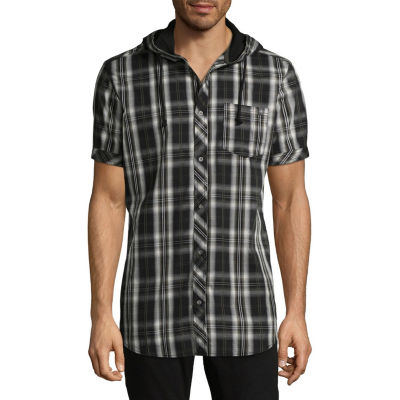 i jeans by Buffalo Mens Hooded Neck Short Sleeve Button-Front Shirt