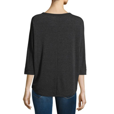 a.n.a 3/4 Sleeve Round Neck T-Shirt-Womens