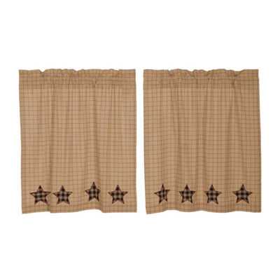 Classic Country Window Bingham Star Applique Star Tier Pair