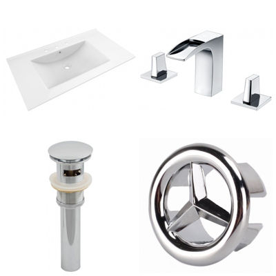 35.5-in. W 3H8-in. Ceramic Top Set In White Color- CUPC Faucet Incl.  - Overflow Drain Incl.