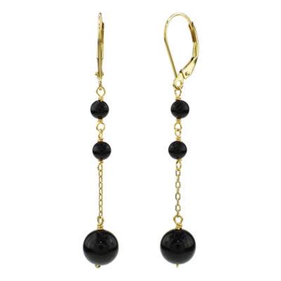 Genuine Black Onyx 14K Gold Drop Earrings