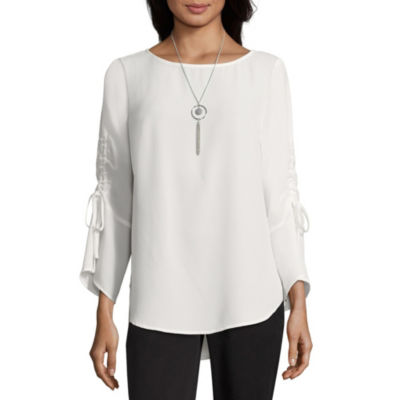 Alyx Womens Round Neck 3/4 Sleeve Woven Blouse