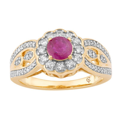 Womens 1/3 CT. T.W. Lead Glass-Filled Red Ruby 10K Gold Cocktail Ring