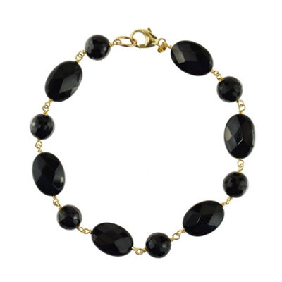 Genuine Black Onyx 14K Gold Beaded Bracelet