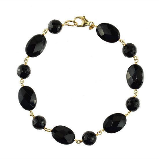 Genuine Black Onyx 14k Gold Beaded Bracelet