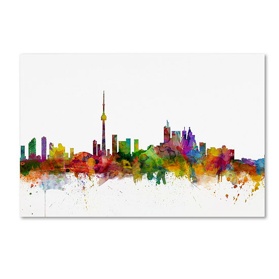 Trademark Fine Art Michael Tompsett Toronto CanadaSkyline by Michael Tompsett Graphic Art on Wrapped Canvas Giclee Canvas Art