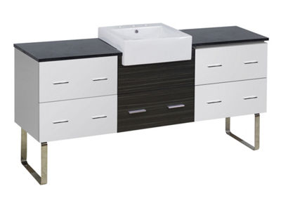 76.25-in. W Floor Mount White-Dawn Grey Vanity SetFor 3H8-in. Drilling Black Galaxy Top