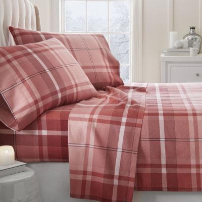 Casual Comfort Premium Ultra Soft Plaid 4 Piece Flannel Bed Sheet Set