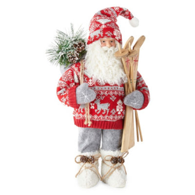 North Pole Trading Co. 19 Inch Red Fairisle Sweater Santa Figurine