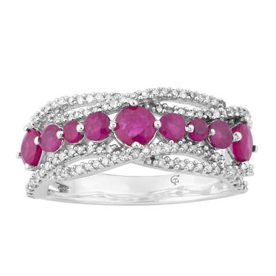 Womens 1/3 CT. T.W. Lead Glass-Filled Red Ruby 10K White Gold Cocktail Ring