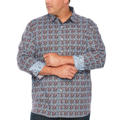 Society Of Threads Society Of Threads Long Sleeve Sport Shirts Long Sleeve Floral Button-Front Shirt-Big and Tall