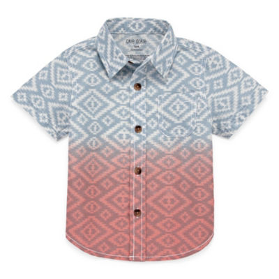 Okie Dokie Aztec Print Short Sleeve Woven - Baby Boy NB-24M