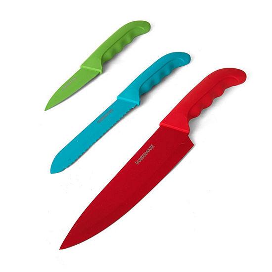 Farberware Colourworks Comfort Grip 3 Pc Chefs Knife Set