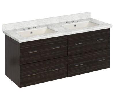 47.5-in. W Wall Mount Dawn Grey Vanity Set For 3H8-in. Drilling Bianca Carara Top Biscuit UM Sink