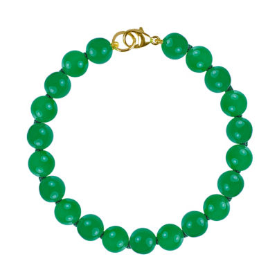 Genuine Green Jade 14K Gold Beaded Bracelet