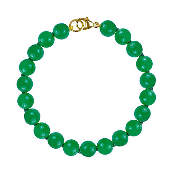 Jcpenney Gold Bracelets: Genuine Green Jade 14K Gold Beaded Bracelet