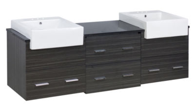 73.5-in. W Wall Mount Dawn Grey Vanity Set For 3H4-in. Drilling Black Galaxy Top