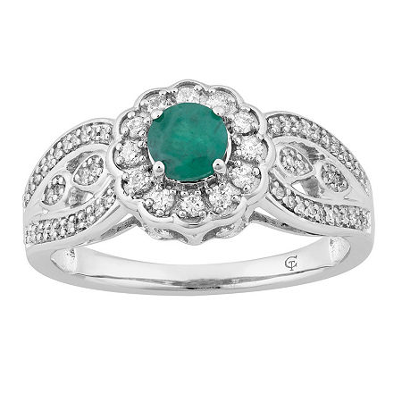 Womens 1/3 CT. T.W. Genuine Green Emerald 10K White Gold Cocktail Ring, 8
