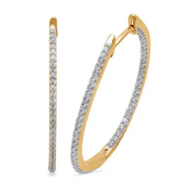 1/2 CT. T.W. GENUINE White Diamond 10K GOLD 31.5mm Hoop Earrings